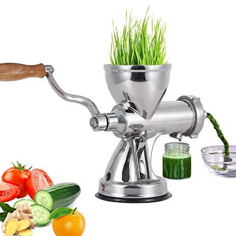 Heavy Duty Stainless Steel Wheatgrass Manual Juicer, Superb Juice Extraction with Vacuum Suction Cup Home DIY Kitchen Tool for Soft Fruit Vegetable ...