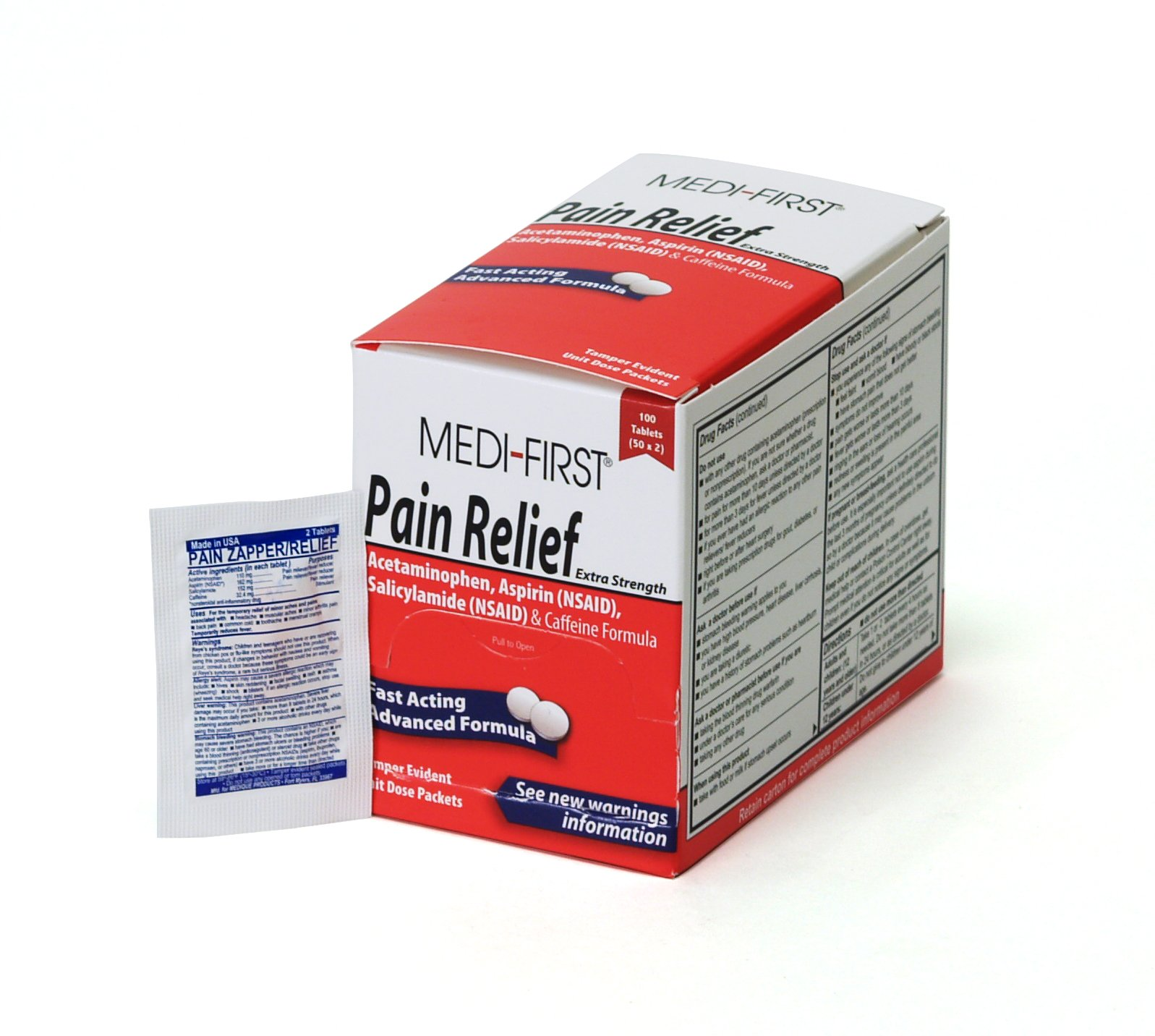 Medi-First Pain Relief Tablets with Aspirin and Acetaminophen, 100 Tablets by Medique