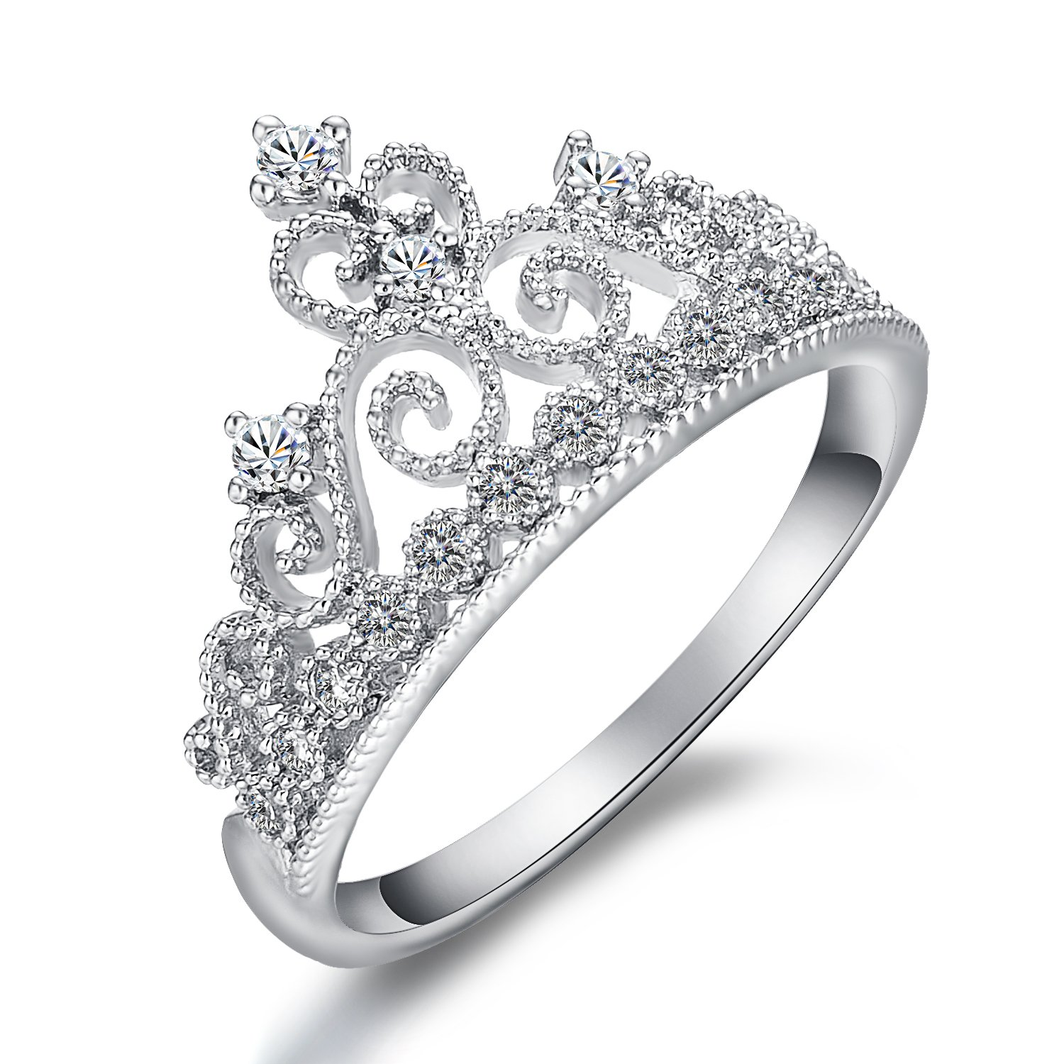 Yoursfs Princess Crown Ring For Women Tiny Cubic Zirconia CZ Accented Fashion Ring (White Gold, 5.5)