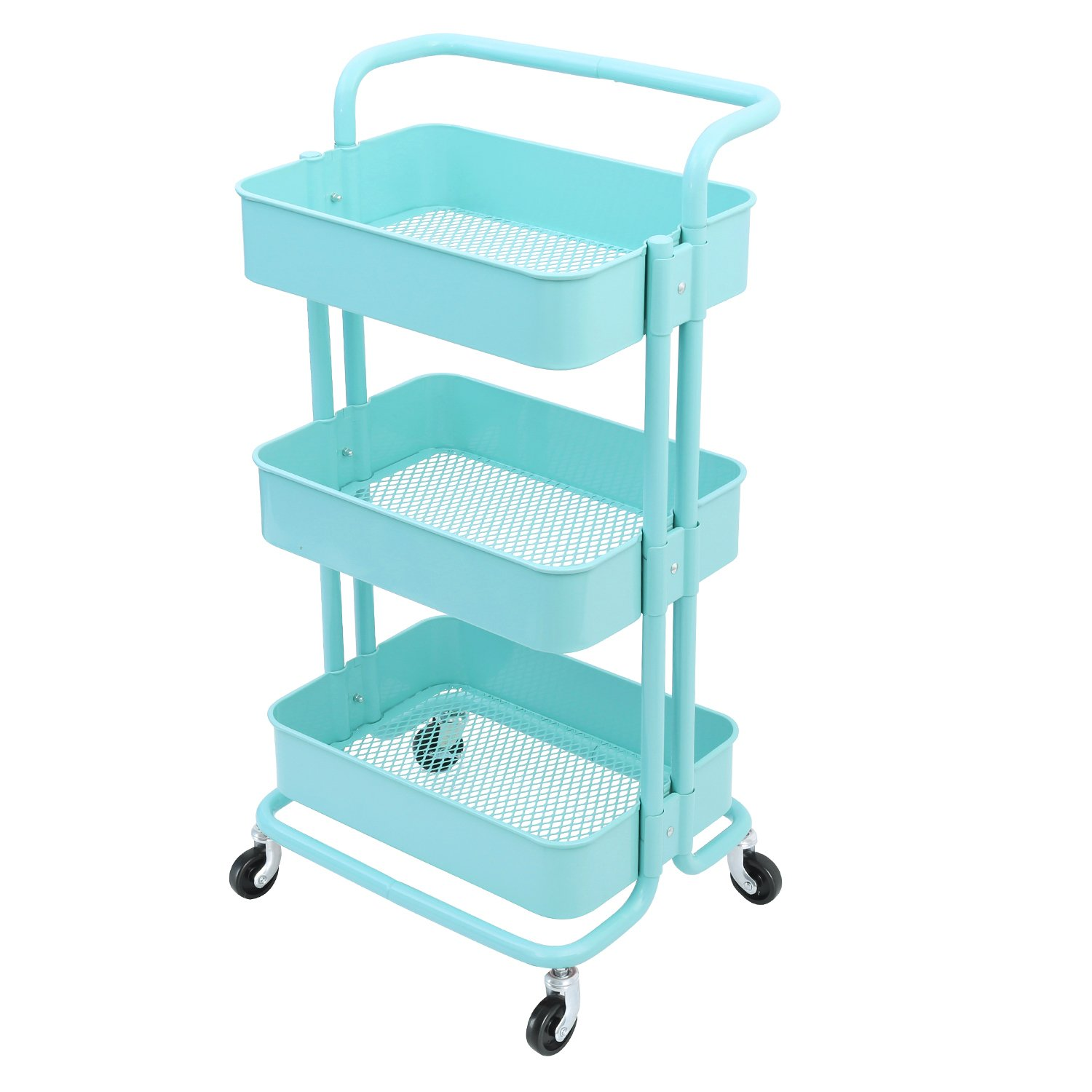 f887e6a2bedb 3-Tier Metal Mesh Storage Shelf Utility Rolling Cart with Removable Handle  and Plug, Indoor or Outdoor Storage Organizer, Turquoise