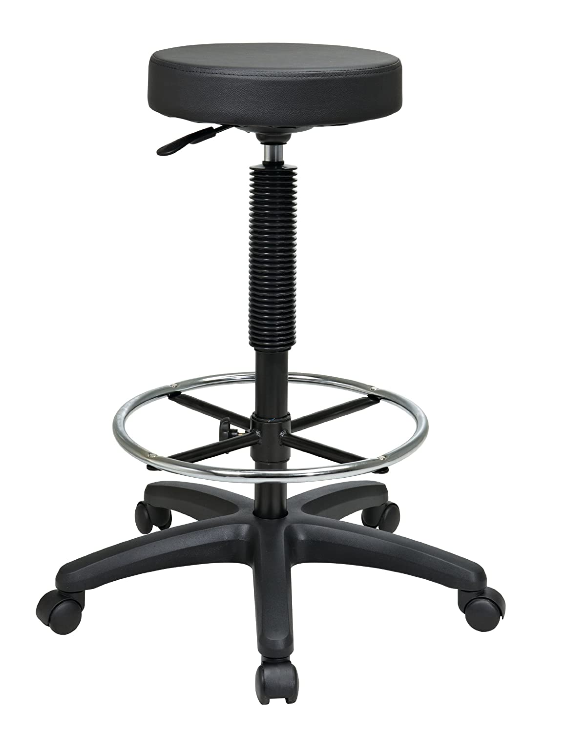 Amazon com  Office Star Thick Padded Vinyl Seat Backless Drafting Stool  with Adjustable Footring  Black  23 33 Inch Heigh Adjustable  Kitchen    DiningAmazon com  Office Star Thick Padded Vinyl Seat Backless Drafting  . Office Star Height Adjustable Drafting Chair With Footring. Home Design Ideas