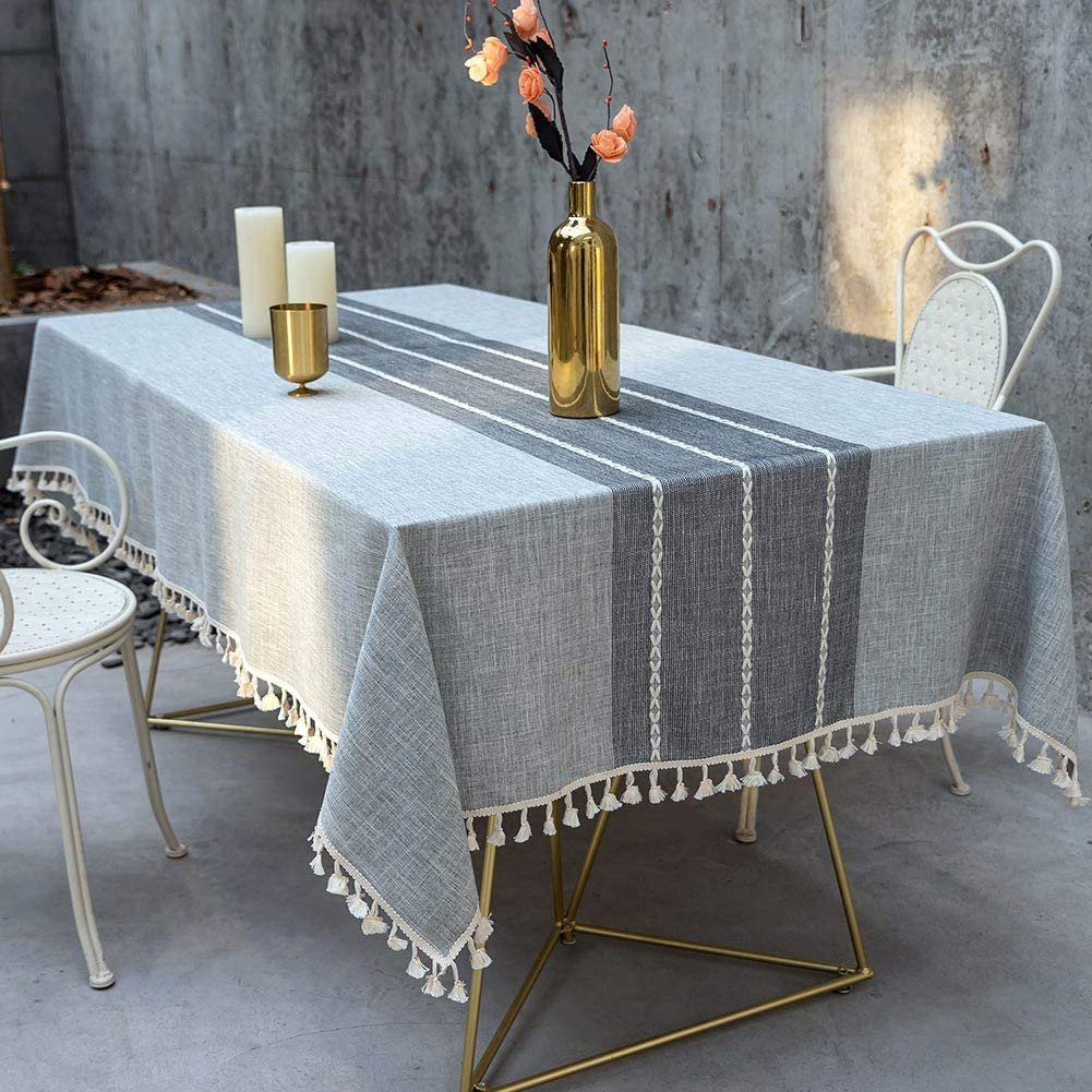 Deep Dream Tablecloth, Embroidered Table Cloth Cotton Linen Wrinkle Free Anti-Fading Tablecloths Washable Dust-Proof Table Cover for Kitchen Dinning Party Christmas, 55 x 86 Inch - New Gray
