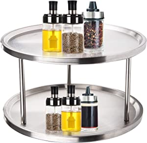 Yarlung 2 Tier Stainless Steel Lazy Susan, 10.5 Inch Kitchen Turntable 360 Degree Rotating Spices Rack Spinning Tray Cabinet Organizer for Condiments, Countertop, Pantry, Food Storage