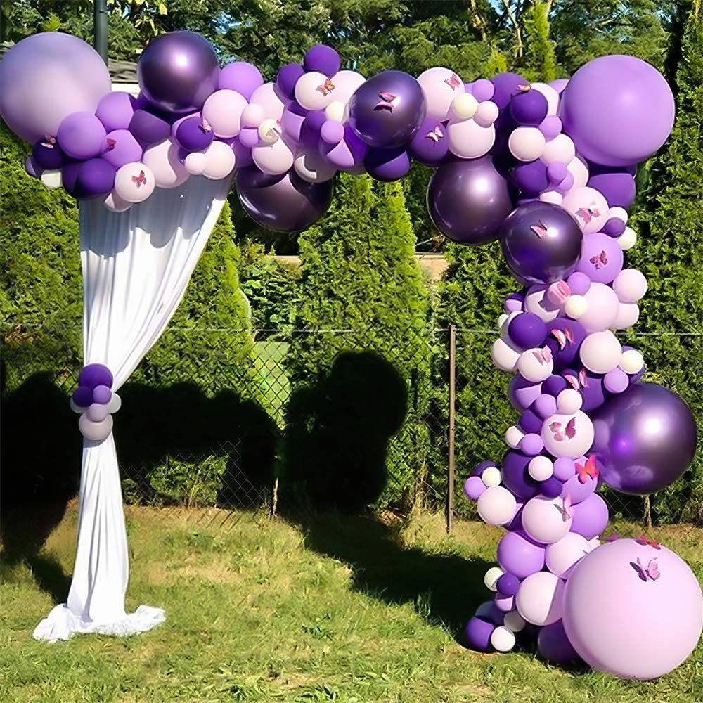 Nalwort Purple Balloon Kit 136PCS 18In 12In 5In Purple Macaron Purple Metallic Purple Balloon Arch Garland For Festival Picnic Family Engagement Birthday Party Wedding Gold Theme Anniversary Celebration Decoration