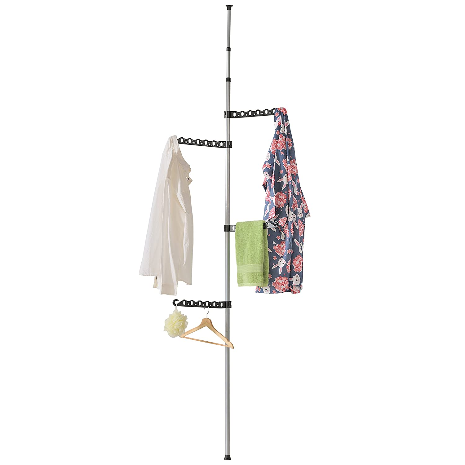 MyGift Telescoping Floor-to-Ceiling Garment Rack with 4 Adjustable 360-Degree Brackets