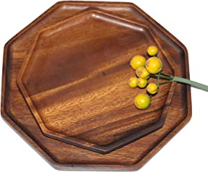 Avwmur 2 Pieces Octagon Walnut Wood Serving Tray for Home Decor, Wood Platters & Dish Plates for Fruits, Cupcakes, Sushi, Food, Dish Wood Tray Decor,