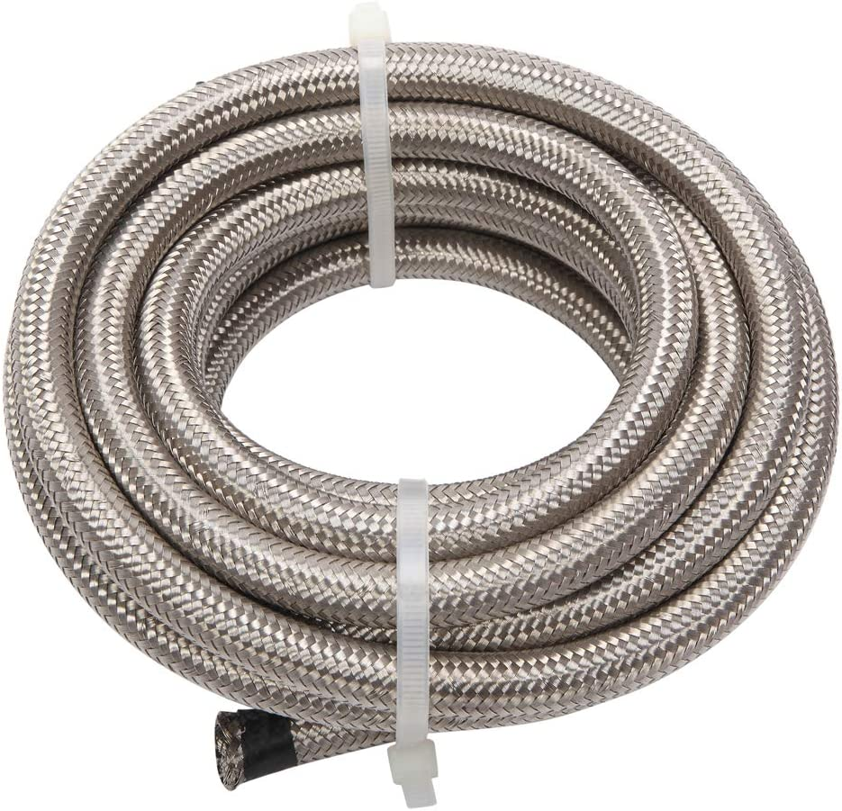 16 Feet 4AN AN4 1//4 Fuel Line Hose Braided Stainless Steel Oil Gas Fuel Hose CPE Synthetic Rubber Line Silver
