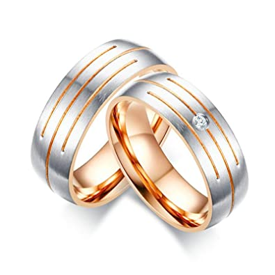 Amazon Com Eocot 2 Pcs Men S Women S Stainless Steel Couple