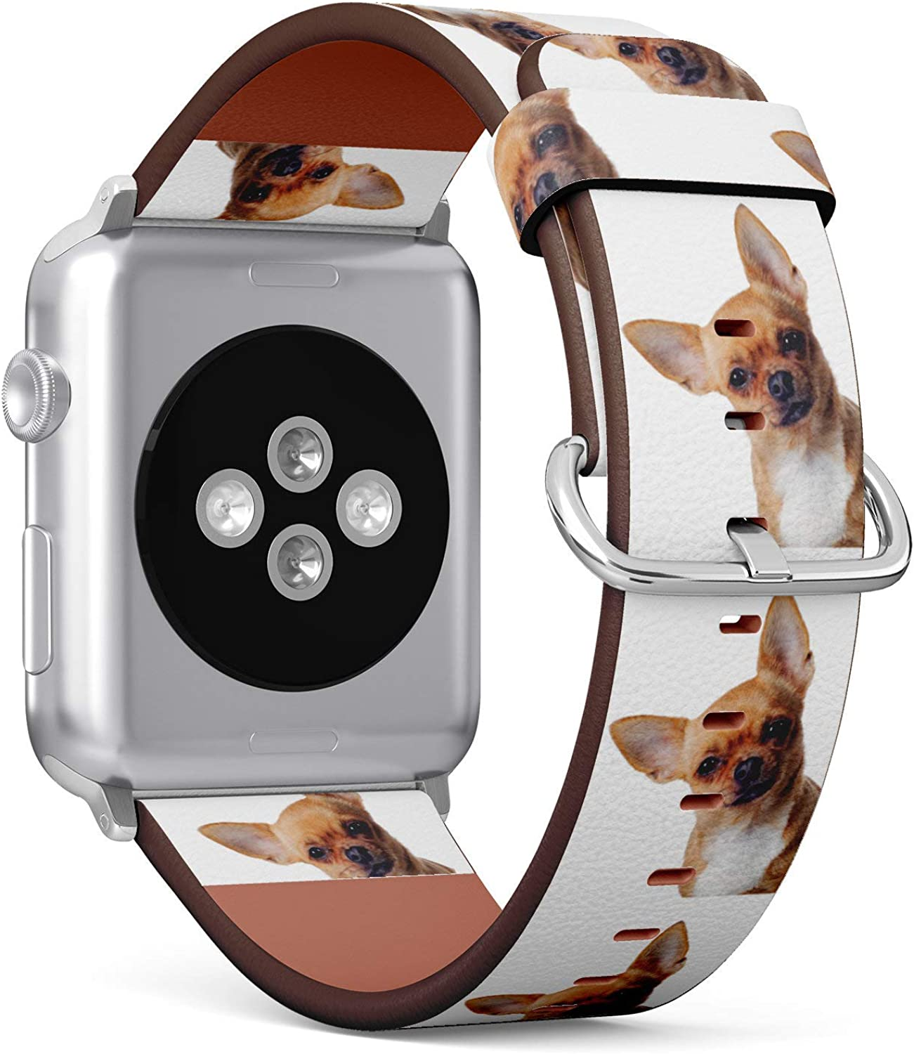 (Lovely Chihuahua Dog) Patterned Leather Wristband Strap for Apple Watch Series 4/3/2/1 gen,Replacement for iWatch 38mm / 40mm Bands