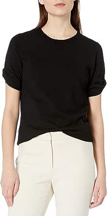 Amazon Brand - Lark & Ro Women's Knot Detail Short Sleeve Sweater