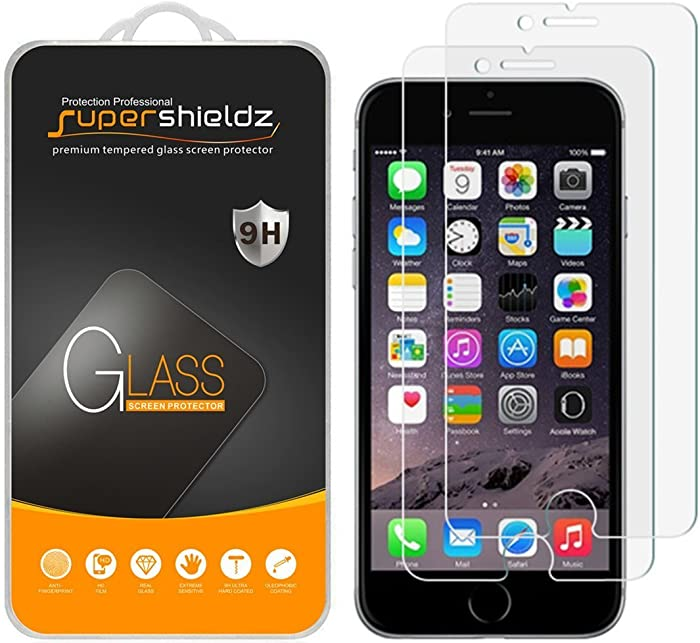 (2 Pack) Supershieldz for iPhone 6s and iPhone 6 Tempered Glass Screen Protector, Anti Scratch, Bubble Free