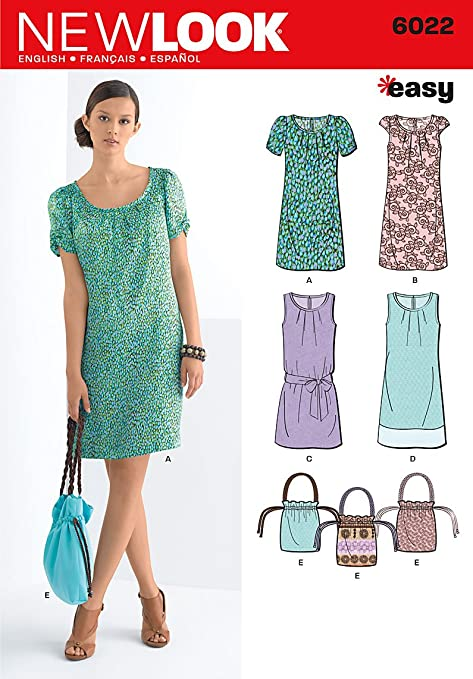 New Look pattern 6022 A for women\'s dresses, size. 32-42: Amazon.co ...