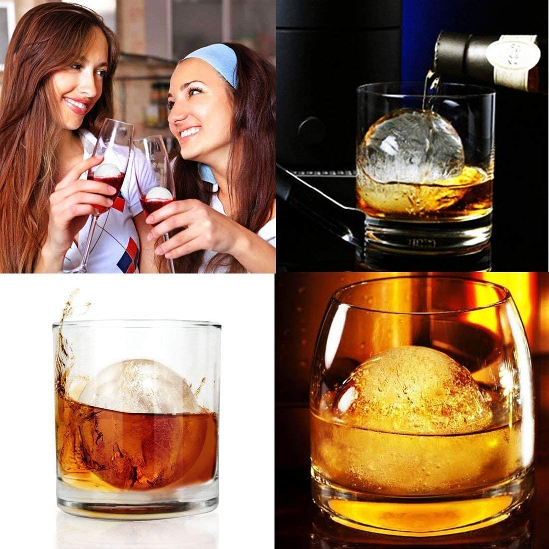 Reusable /& BPA Free Ice Cube Trays Newest Water Filling Design Large Ice Sphere Mold Tray for Whiskey Ice Ball Maker with Lids Diamond Cut Ice Ball Mold for Cocktail Bourbon /& Scotch