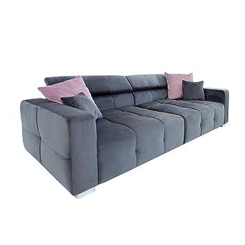 Elegantes Big Sofa TRENTO 290cm Grau Inkl Kissen Verstellbare Kopfsttze Couch Wohnzimmer