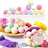 Bath Bombs Gift Set, Mother's Day Gifts 18 Family Spa Vegan Lush Fizzies with Natural Essential Oils,3 Flower Pental Bags,Moisturize Dry Skin,Add to Bubble Bath,Basket,Bath Beads,Bath Pearls & Flakes