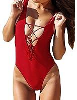 Zero City Women's One Piece Swimsuits Monikini Lace-up U Back Bathing Suit