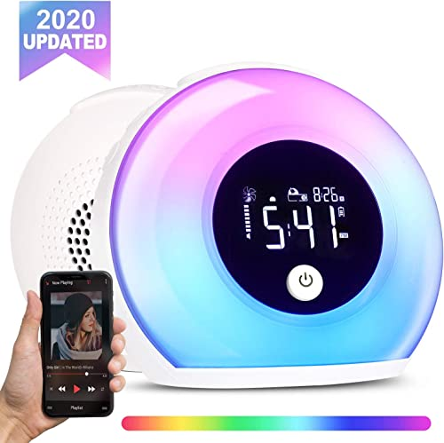 VOREN Kids Digital Alarm Clock with Bluetooth Speaker and Night Light, 3 in 1 Smart Alarm Clock Night Lamp with Vibration Sensor, Adjustable Light Colors and Brightness for Kids Bedroom Decor