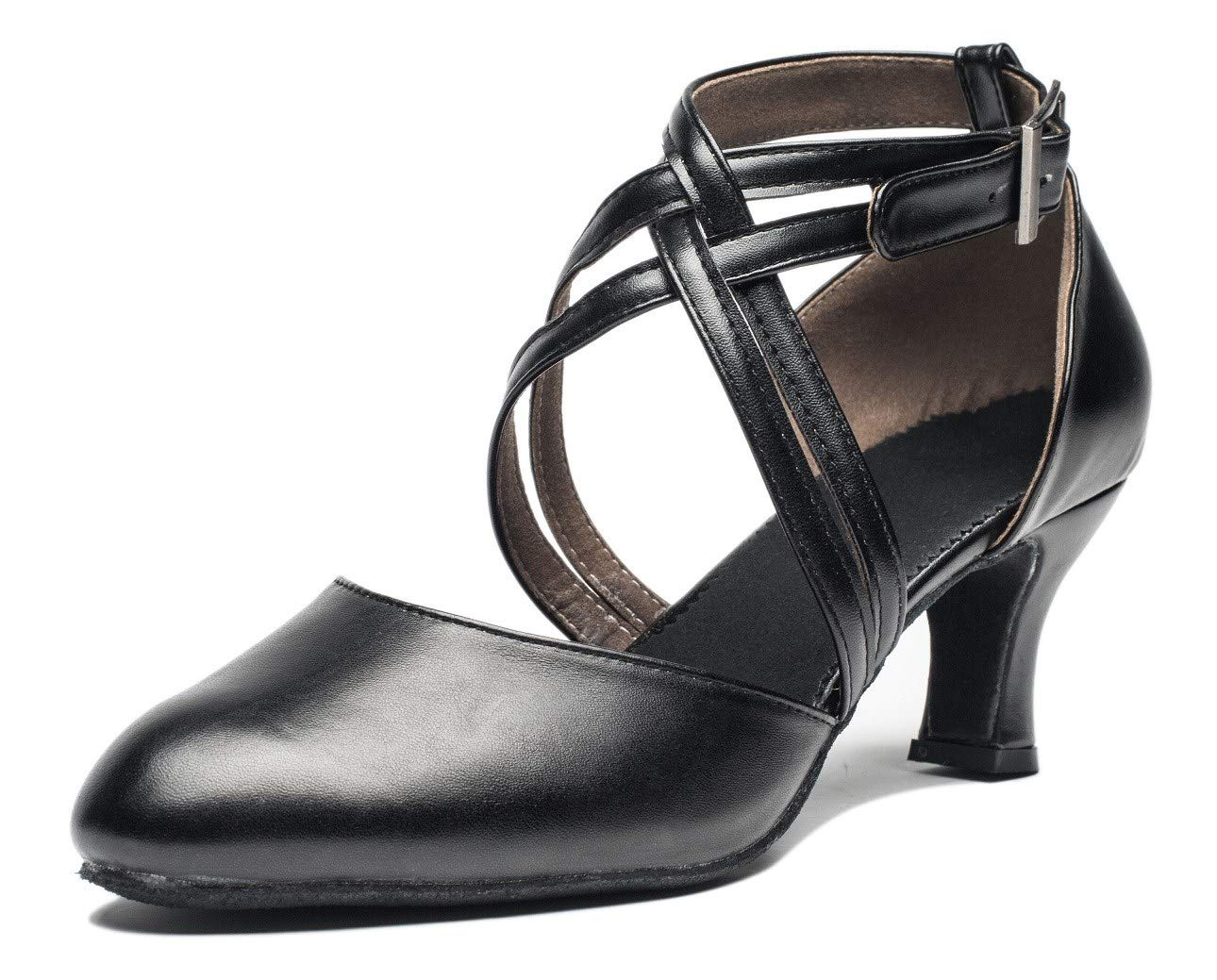 Joocare Women Cross Strap Latin Ballroom Black Character Dance Shoes Ladies Modern Tango Salsa Party Dress Pump (6US/36,Black)