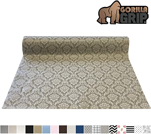 2 Pack Grey Damask 12-Inch x 10-Feet Duck Brand 283319 Smooth Top Easy Liner Non-Adhesive Shelf Liner