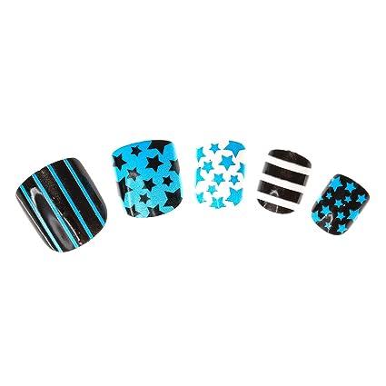 Claires Disney-Lote De 24 falsos uñas con estampados variados azul para niño, color
