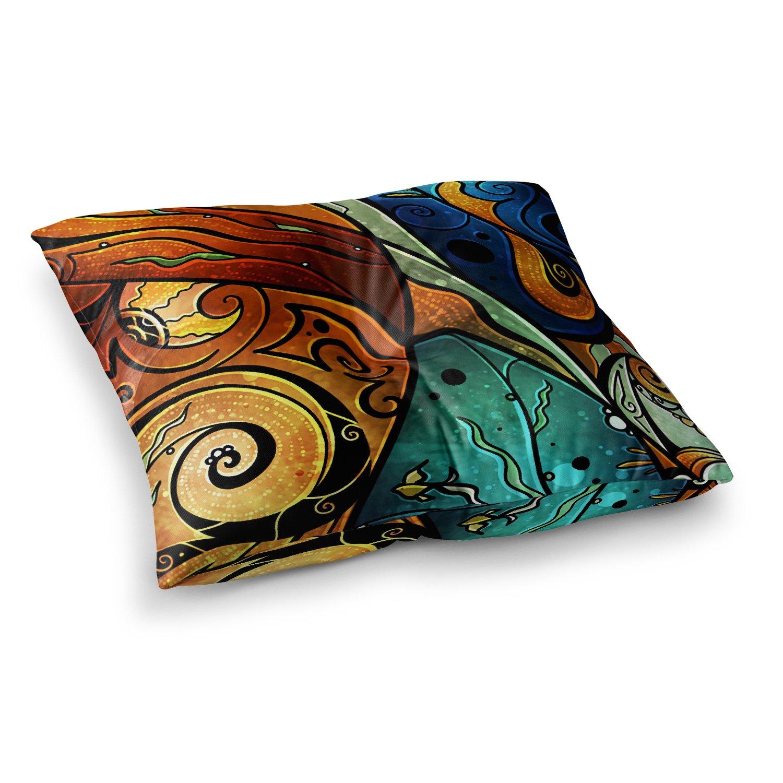 Kess InHouse Mandie Manzano Sea Dance Blue Orange 23 x 23 Square Floor Pillow
