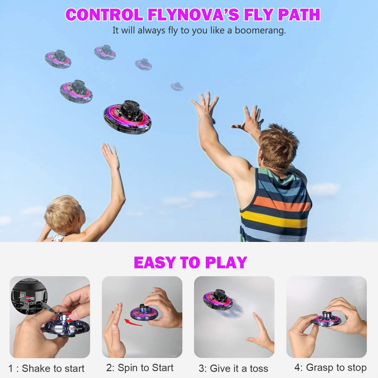 FlyNova Flying Drones Toys Hand Operated Drones for Kids or Adults Stress Relief Interactive Cool Toys Rechargeable Scintillating RGB Light Mini UFO Drones for Indoor Outdoor Games Flying Toy