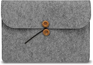 """TOP CASE - Protective Felt Environmental Sleeve Bag/Carrying Case with Buttons Compatible with 13"""" MacBook Pro, Air/Microsoft Surface Pro/Notebook/Ultrabook/Chromebook - Light Gray"""
