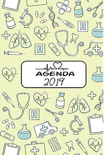Agenda 2019: Agenda Mensual y Semanal + Organizador I Cubierta con tema de EnfermeraI Enero