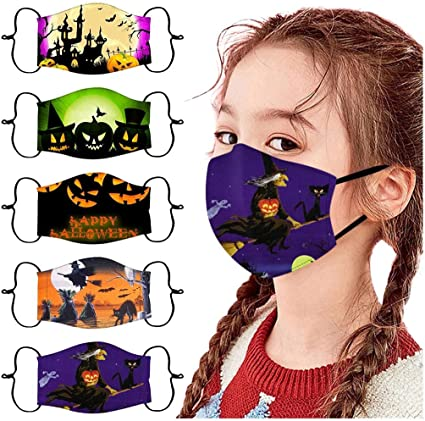 5pc Cute Pattern Kids Washable Comfortable Reusable Windproof Face Covering with Filter Face Cover Protection