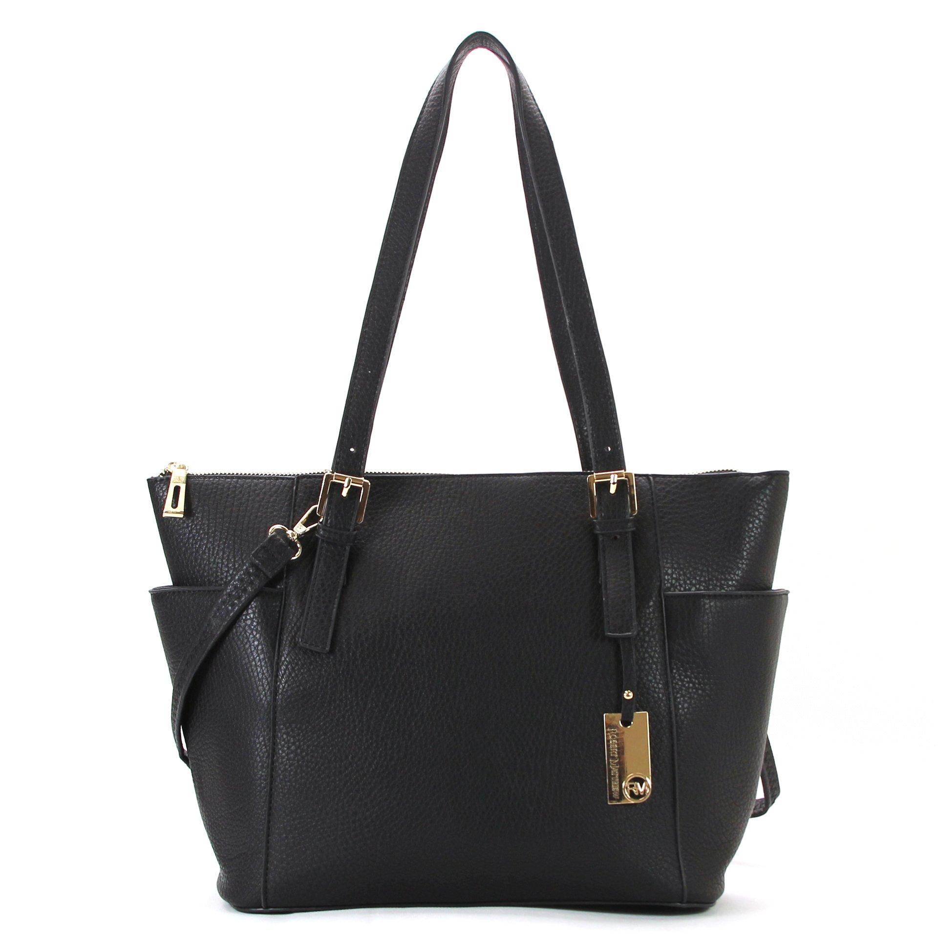 Robert Matthew Fashion Khloe Womens Tote Bag, Designer Black Pu Leather Purses by Robert Matthew