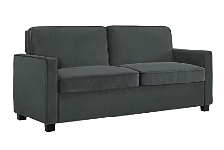 Signature Sleep Casey Velvet Sofa With Memory Foam Mattress, Queen Size    Gray