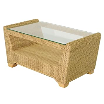 Wicker Coffee Table Natural Glass Top Rattan Conservatory