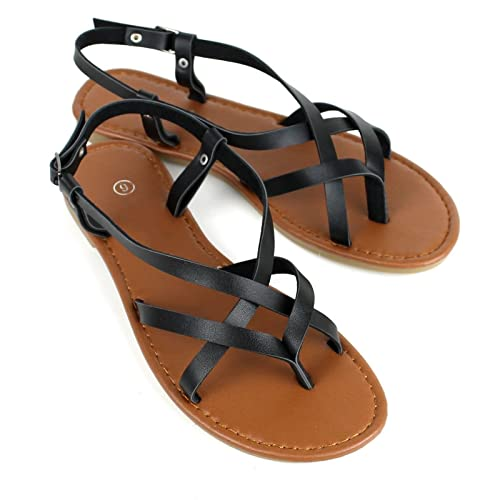6bda1d374a1a6 Amazon.com | Women's Strappy Faux Leather Gladiator Thong T Strap Flat  Sandals | Sandals
