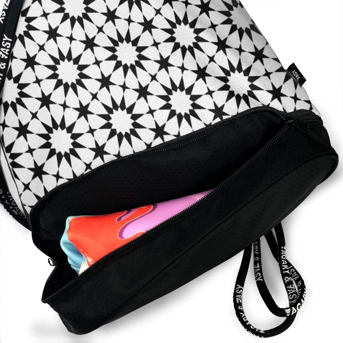 0 Sc64 E432 White Black Drawstring Backpack Sports Athletic Gym Cinch Sack String Storage Bags for Hiking Travel Beach