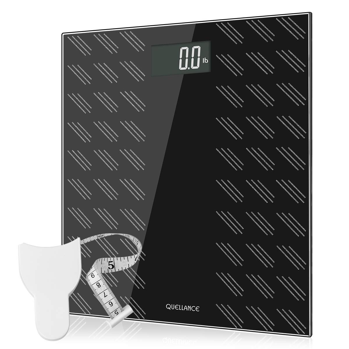 Digital Electronic Scales For Body Weight Bathroom Scale with Step-On Technology, Non-Slip Matte Platform, Up to 400 Pounds, Body Tape Measure Include, Tempered Glass with Large LCD Backlight