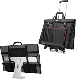 CURMIO Tote Bag with Rubber Handle, Rolling Carrying Bag with Wheels Compatible with Apple iMac 21.5 inch Desktop Computer, Patented Design