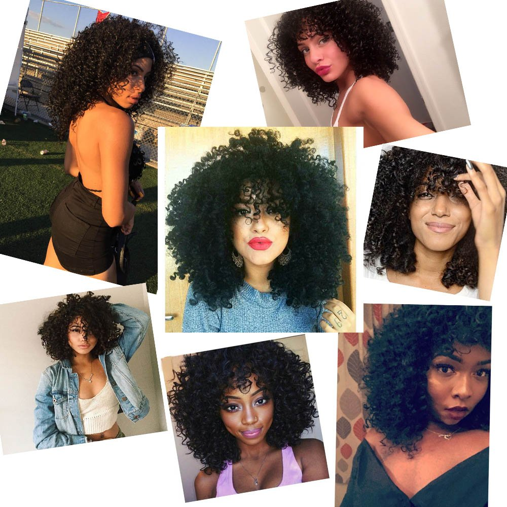 ForQueens Black Short Kinky Curly Wig Synthetic Afro Full Wigs For Black Women Heat Resistant Hair Curly Wigs With Bangs For African Women by ForQueens (Image #5)
