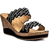 89a9aca8152 Gc Shoes Women s Adella Strap Slide Wedge Sandal