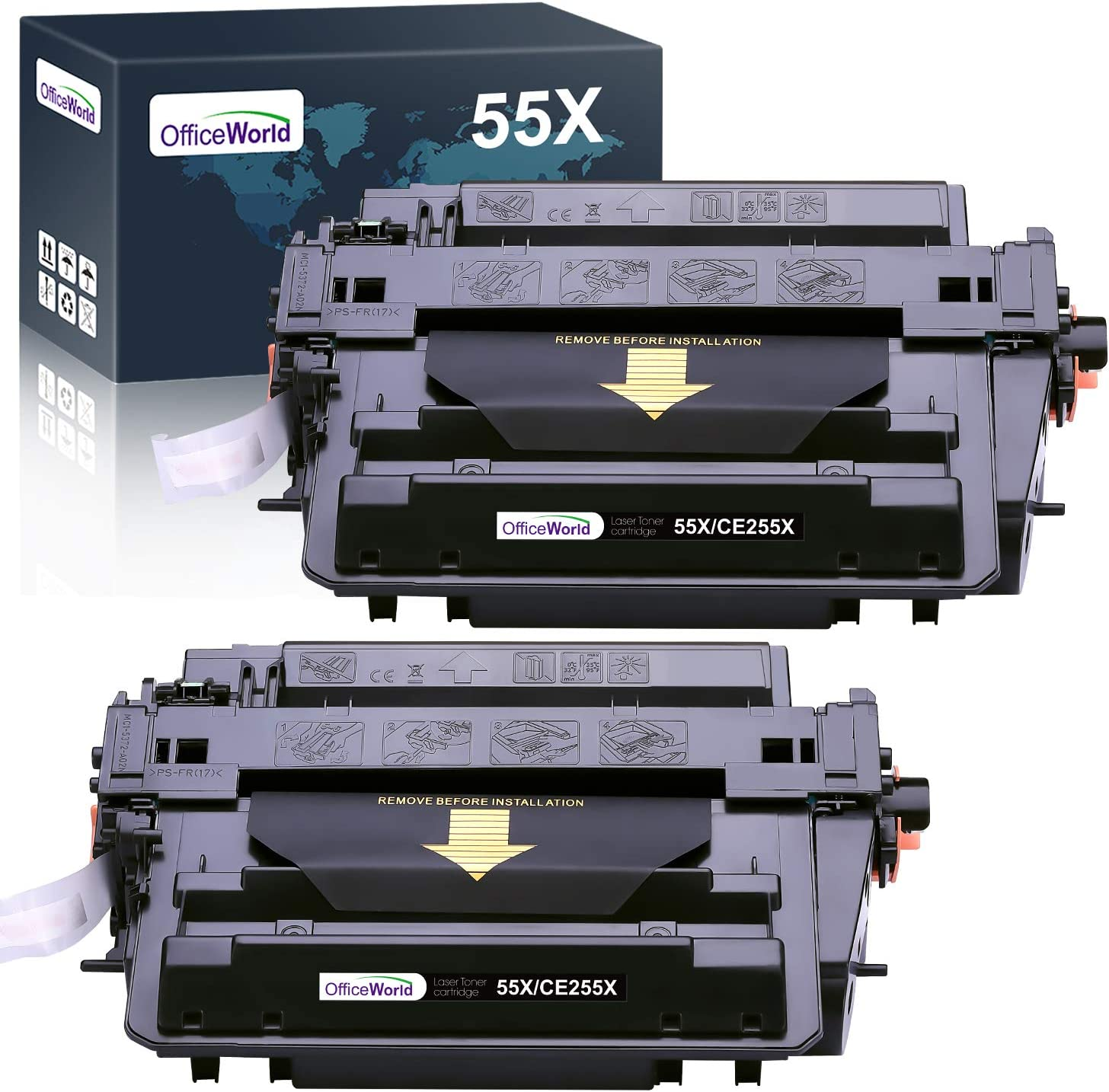OfficeWorld Compatible HP 55A 55X Toner Cartridges Replacement for HP CE255X CE255A High Yield, for HP Laserjet P3010 P3011 P3015 P3015dn P3015n P3015x MFP M521dn M521dw M525c M525dn Black 2 Pack