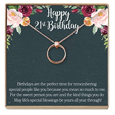 Amazon Dear Ava 21st Birthday Gift Necklace Jewelry For Her 2 Linked Circles Rose Gold Plated Brass NA