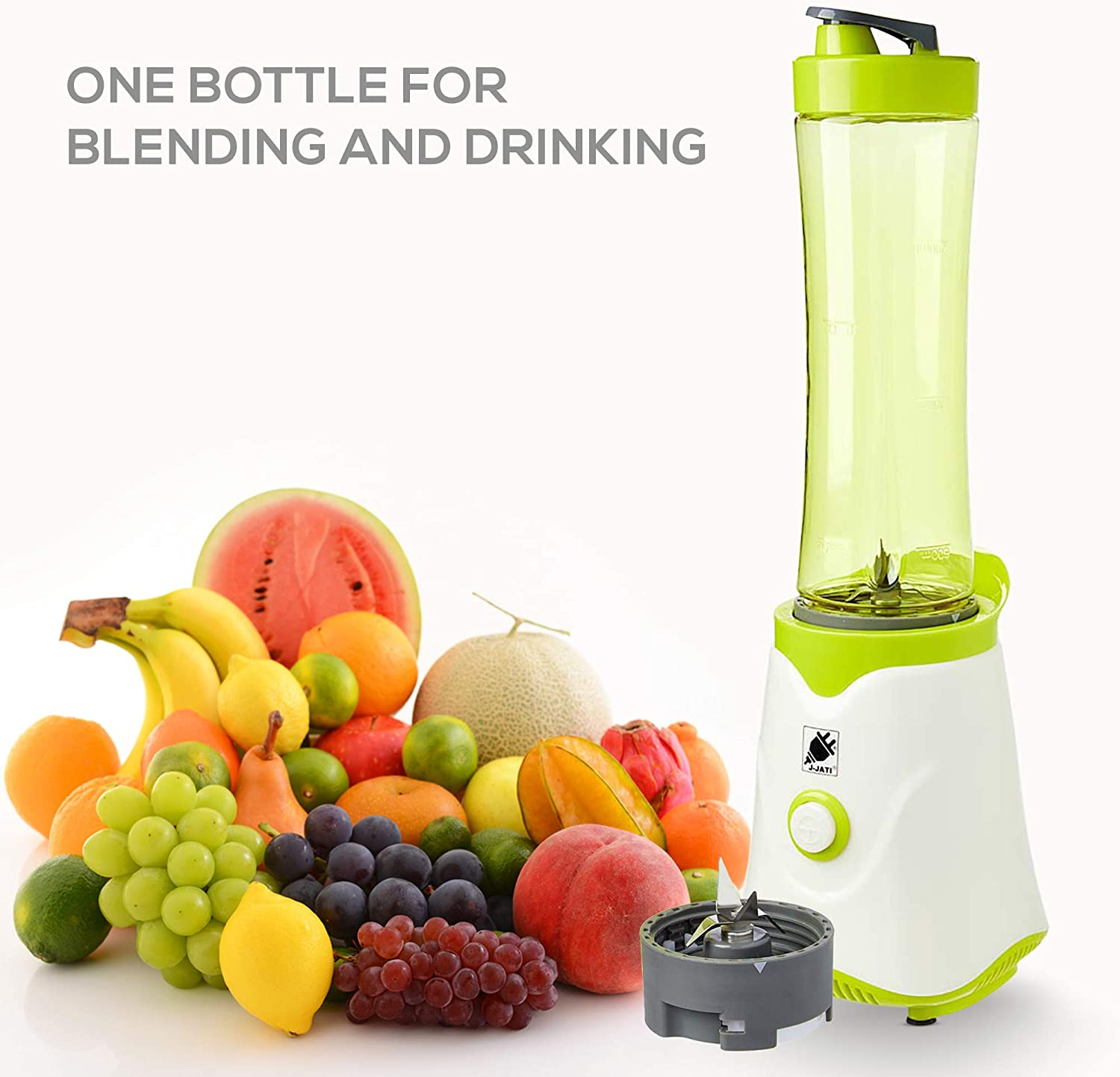 J-JATI Electric Personal Blender Juicer Drink Personal Size Blender fruit smoothie Maker With Portable Sports Travel Bottle to Go Easy Blend Personal Cup you can take with you anywhere Color- white BL-704
