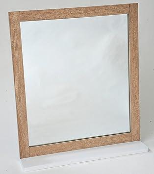 2 en 1 Miroir et Tablette de salle de bain - Aspect chêne vieilli ...