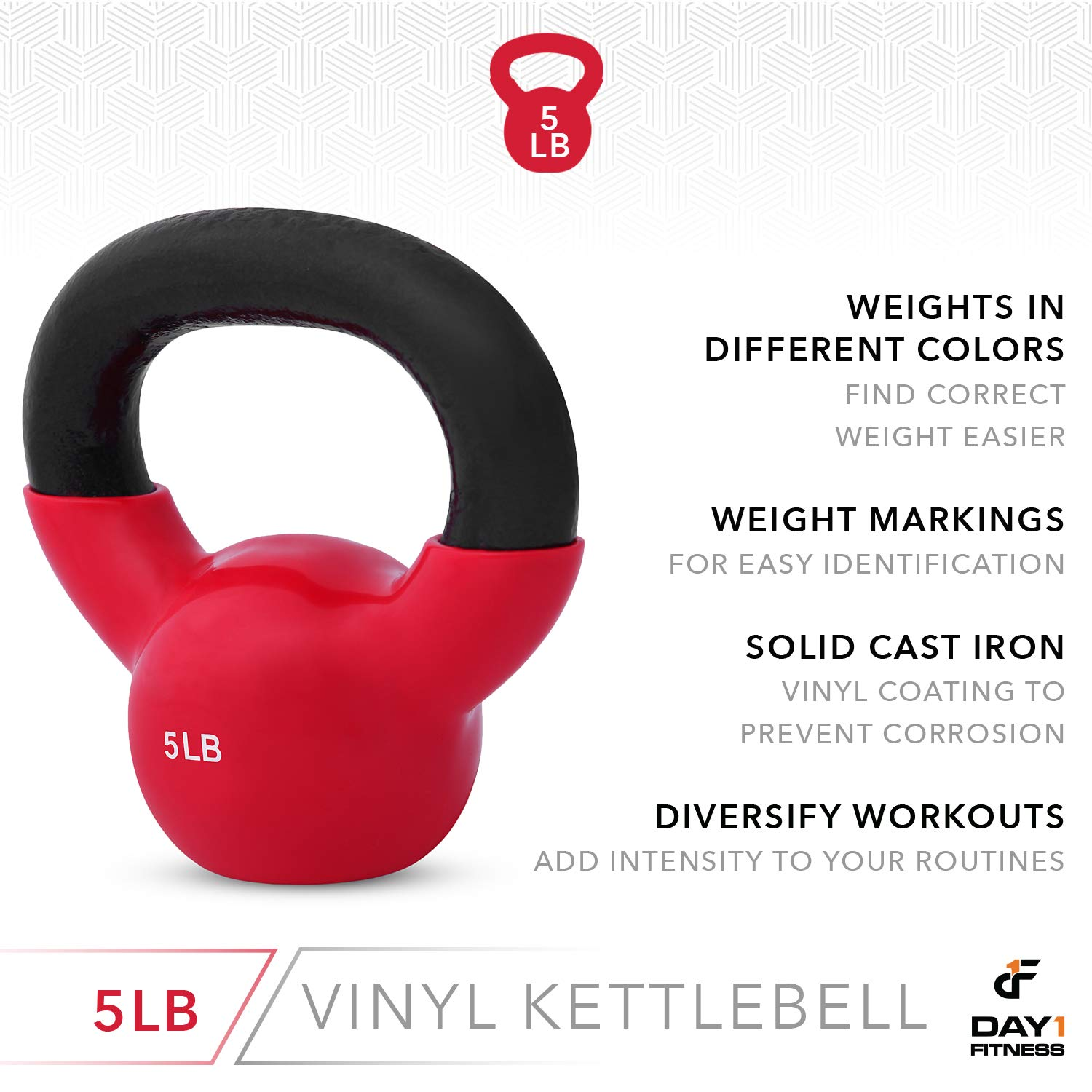 Day 1 Fitness Kettlebell Weights Vinyl Coated Iron 5 Pounds - Coated for Floor and Equipment Protection, Noise Reduction - Free Weights for Ballistic, Core, Weight Training by Day 1 Fitness (Image #5)