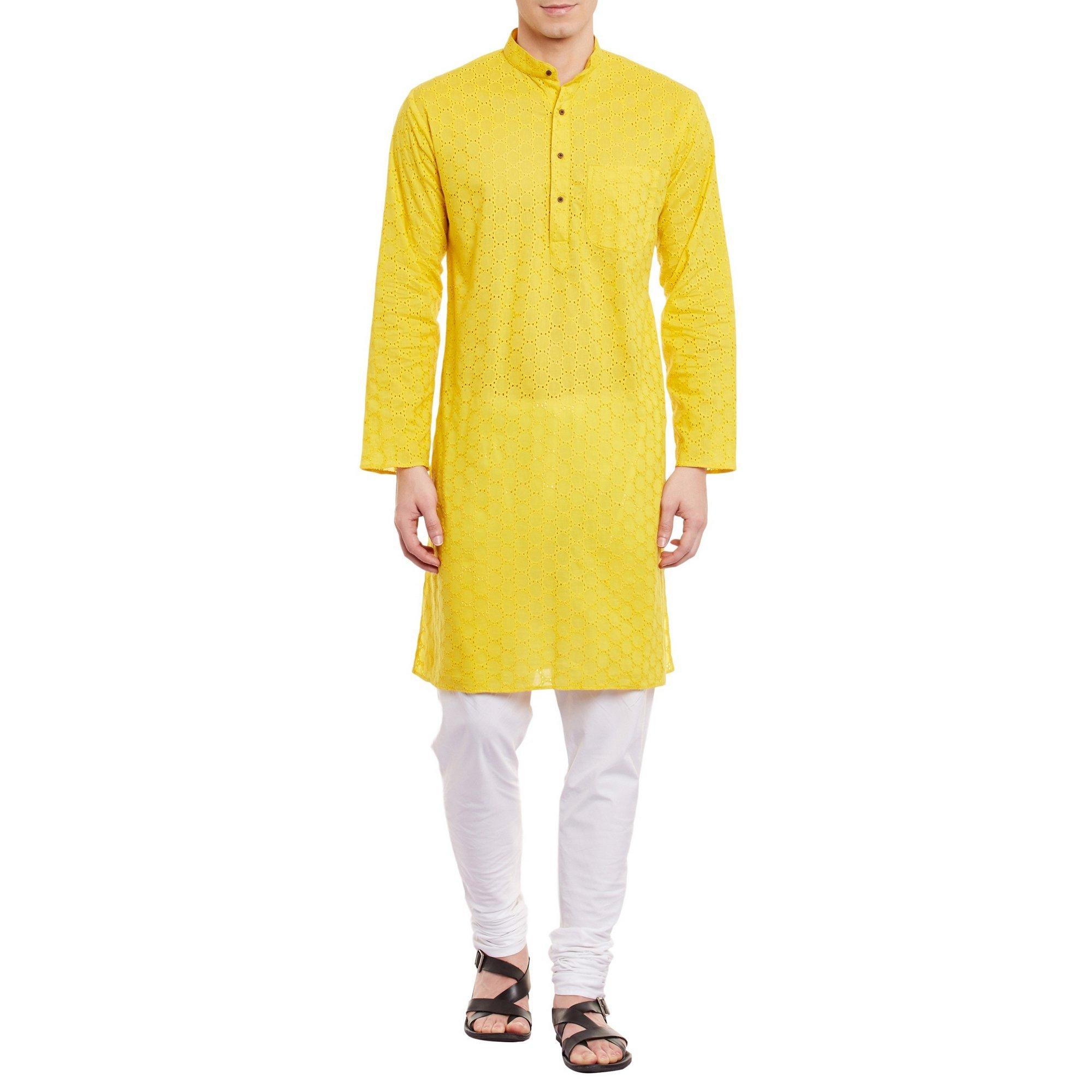 ShalinIndia Mens Embroidered Cutwork Cotton Kurta With Churidar Pajama Trousers Machine Embroidery,Yellow Chest Size: 38 Inch