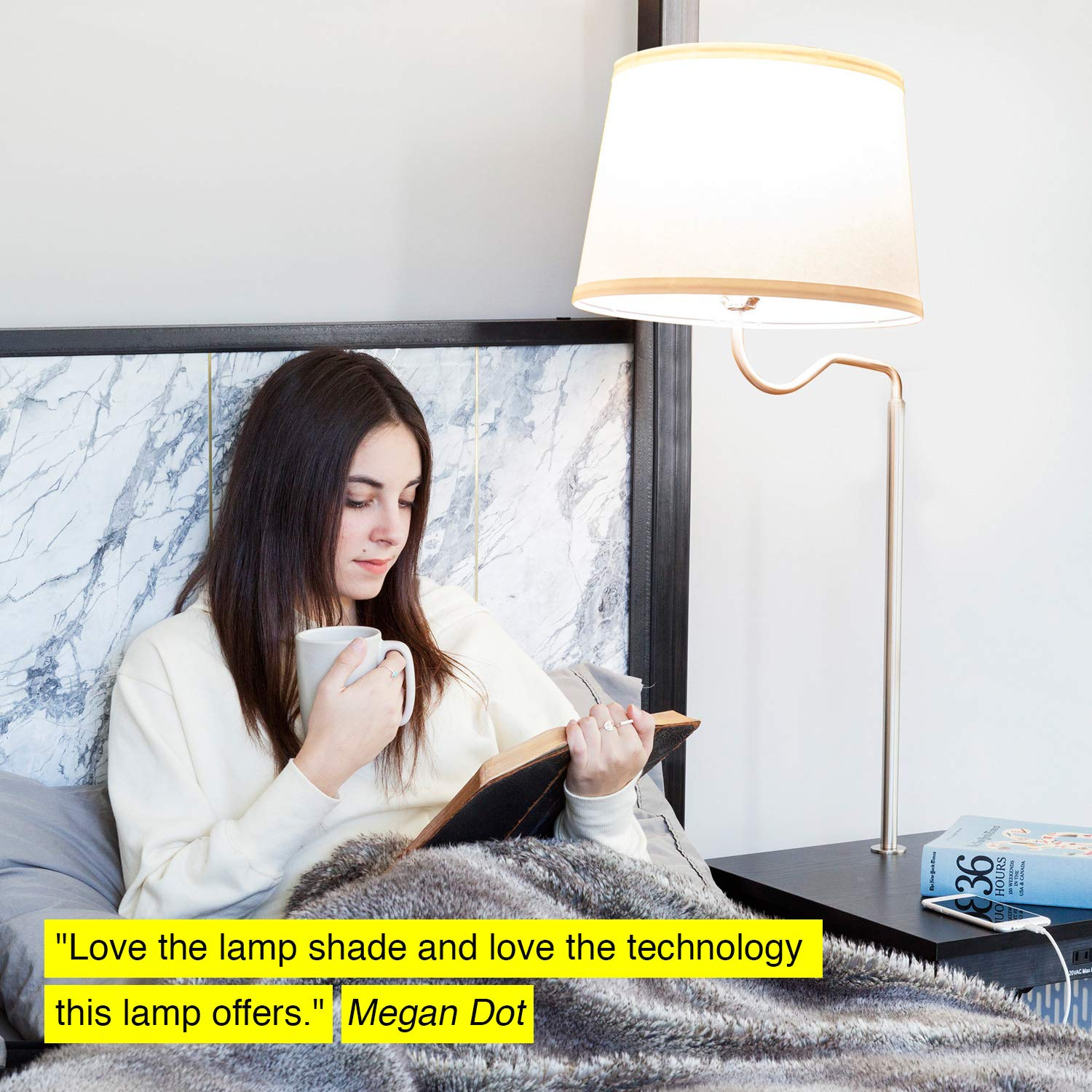 Madison LED Floor Lamp with USB Charging Ports Brightech End Table with Shelves for Living Room Sofas Classic Black Mid Century Modern Bedside Nighstand Table
