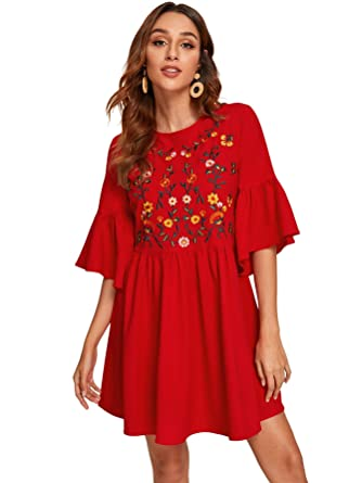 Floerns Women's Embroidered Floral Bell Sleeve A Line Tunic Dress by Floerns