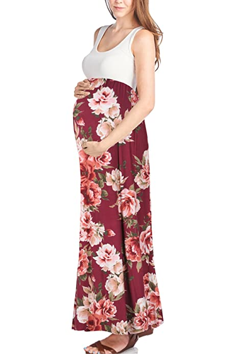 Beachcoco Womens Maternity Sleeveless Maxi Empire Waist Flower Printed Tank Dress Made in USA