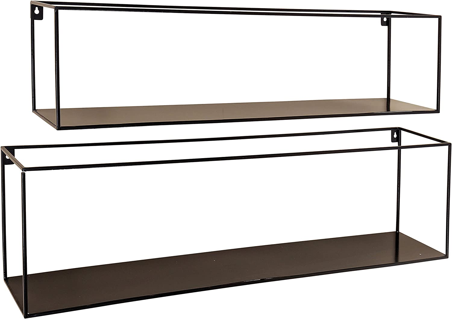WHW Whole House Worlds Industrial Chic Rectangle Floating Shelves, 2 Wall Mounted Pieces, Black Iron, Various Sizes