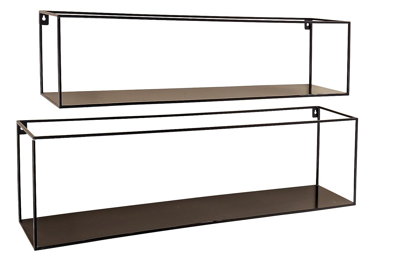 壁ラックFranco S / 3 l35 – 45 cm Ironパウダーコーティング Set of 2 - Long Shelves ブラック WHW20180306 B07B4PGYNX