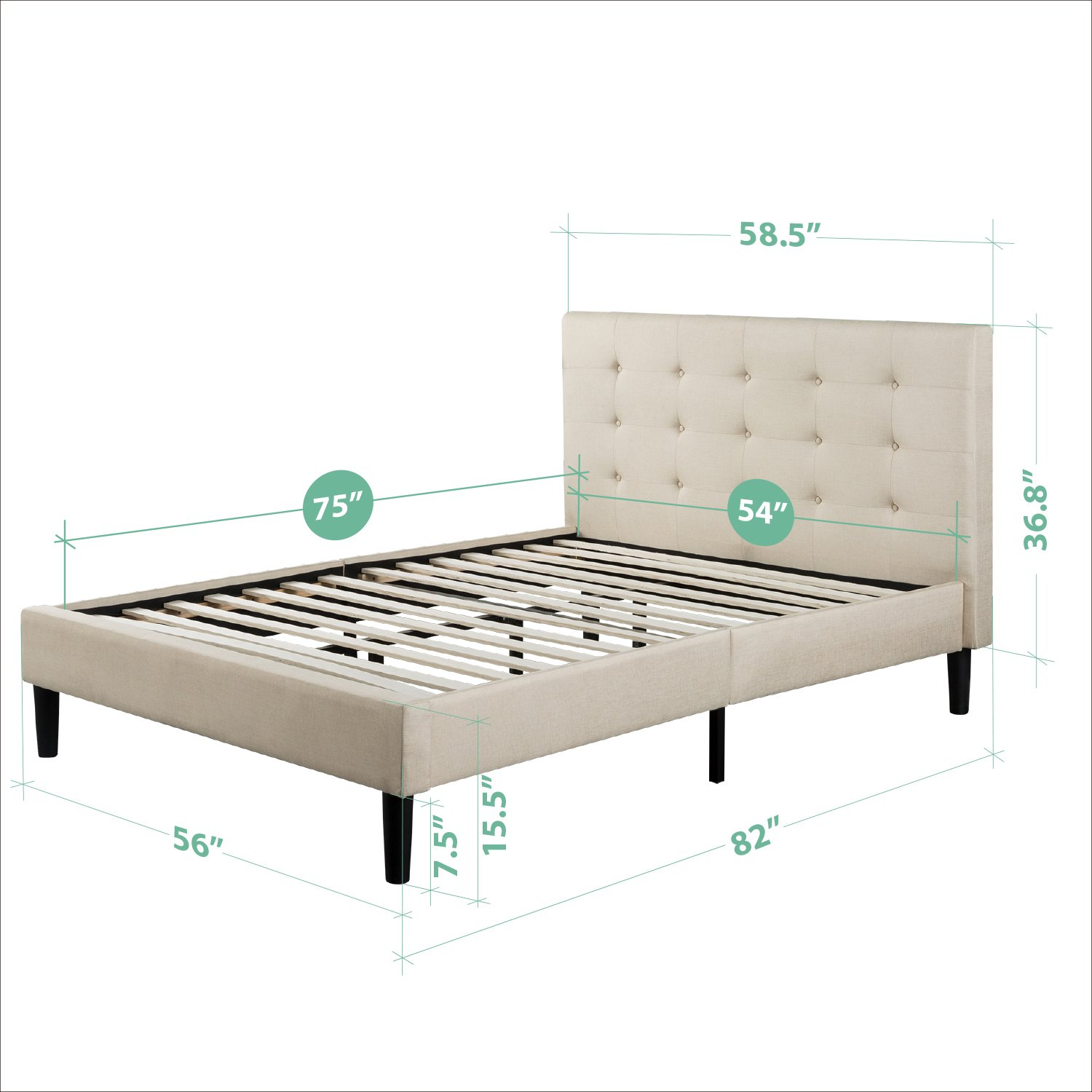 zinus upholstered button tufted platform bed with wooden slats full furniture beds accessories. Black Bedroom Furniture Sets. Home Design Ideas